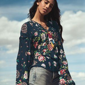 NWT Johnny Was Harley Floral Peasant Top Boho M
